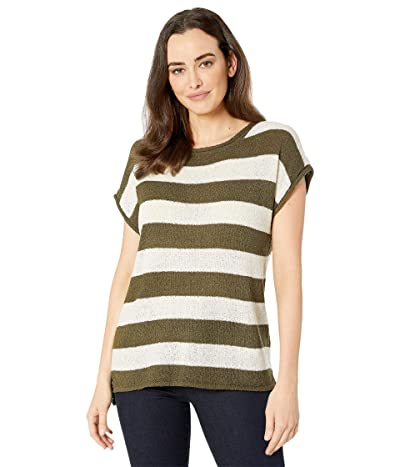 American Rose Amelia Short Sleeve Striped Sweater (Olive/Ivory) Women