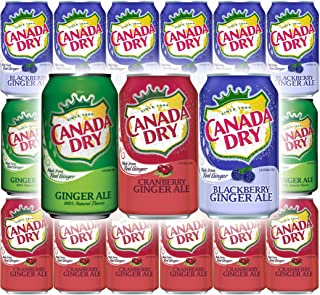 Canada Dry Ginger Ale Original, Blackberry, Cranberry Sparkling Seltzer Water - Variety Pack, 12oz Can (Pack of 18, Total ...