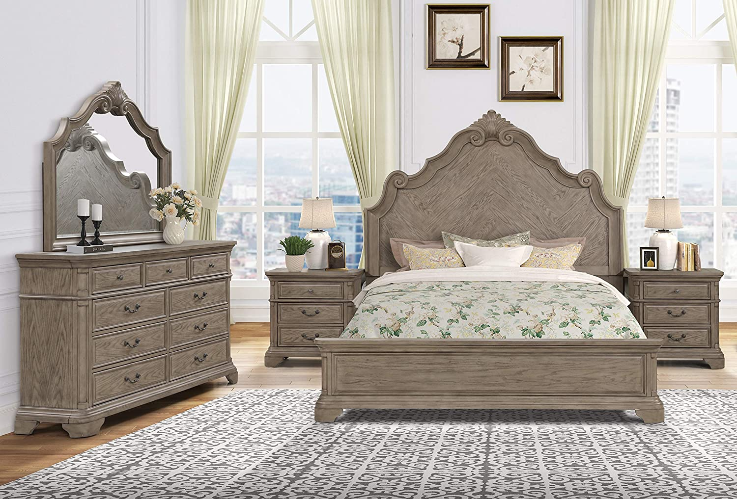 Roundhill Furniture Levan Max 56% OFF Carved Wood Set Queen Bed Special price with Panel
