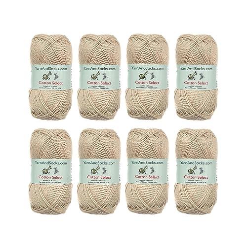 Cotton Select Sport Weight Yarn - 100% Fine Cotton - 8 Skeins - Col 101 - Vanilla Cream