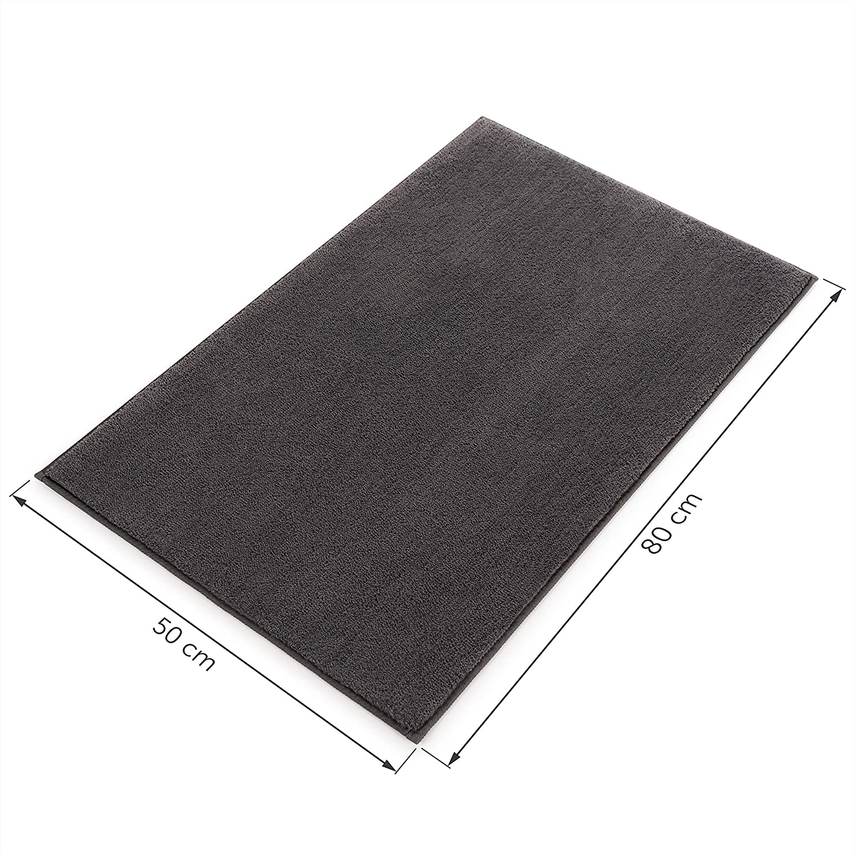 Non Slip Bathroom Mat Blumtal Super Soft Bath Mat Dark Grey 50x80 cm Washable Bathroom Rug