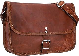 """Gusti Umhängetasche Leder - Nature Handtasche Mary L Damen Ledertasche Tablettasche Vintage Ziegenleder Braun 9,7"""""""""""