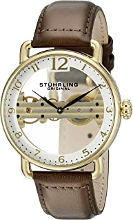 Stuhrling Original Men's 976.03 Bridge Automatic Watch With White Dial Analogue Display and Brown Leather Strap