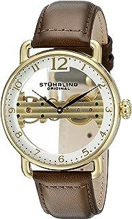 ساعة 976.03 بريدج للرجال من ستيرلينج اوريجنال، ساعة اوتوماتيكية بمينا بيضاء وعرض انالوج وسوار جلدي بني