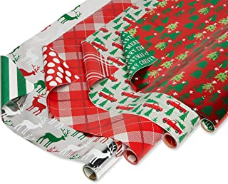 American Greetings Reversible Christmas Foil Wrapping Paper, Stripes, Polka Dots, Plaid, Reindeer, Christmas Trucks and Trees (4 Pack, 120 sq. ft.)