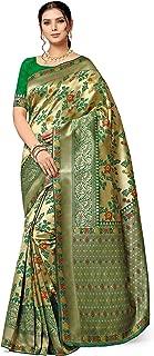Leeza Store Banarasi Kanjivaram Style Patola Saree With Blouse Piece Free Size
