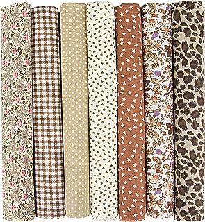 INFEI Lot de 7 carrés de tissu en coton 50 x 50 cm pour loisirs créatifs, patchwork, couture, scrapbooking (café)