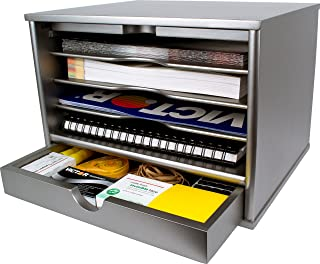 Victor Wood Desktop Organizer with Closing Door, S4720 (Classic Silver), No Assembly Required …