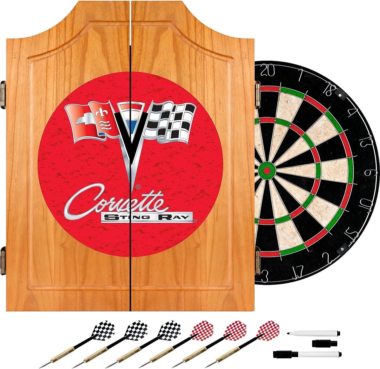 Trademark Global Corvette C2 Wood Dart Cabinet Set, Red