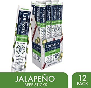 Lorissa's Kitchen Grass Fed Beef Sticks, Jalapeño, 1 oz., Pack of 12 – Made with 100% Grass-Fed Beef, No Added Nitrites or Nitrates - Keto Friendly Snacks, Gluten Free (Packaging May Vary)
