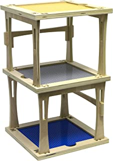 3 Level Stackable Wooden Tower for Building Bricks, 22
