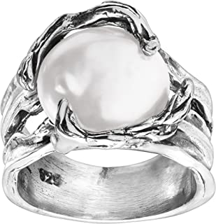 Branch Out' 14 mm Mother-of-Pearl Ring in Sterling Silver