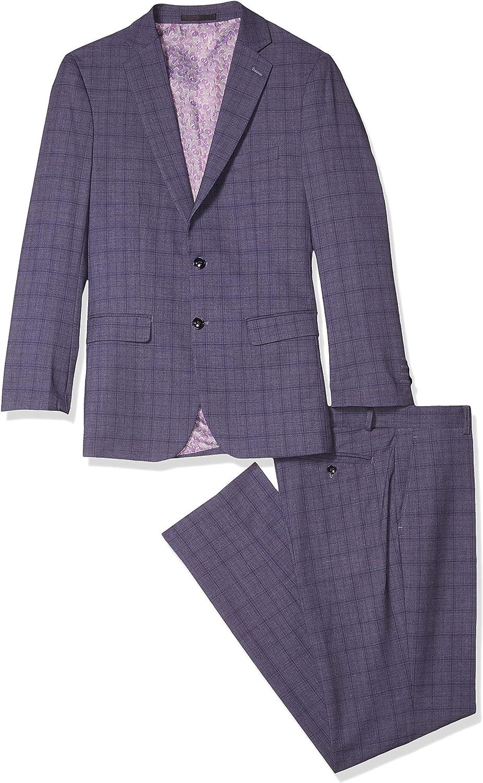American Exchange Men's Slim Fit Check Suit
