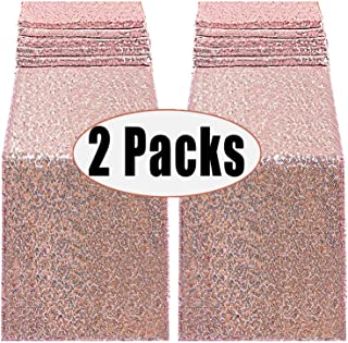 FECEDY 2pcs 12 x 108inch Glitter Rose Gold Sequin Table Runner for Birthday Wedding Engagement Bridal Shower Baby Shower Bachelorette Holiday Celebration Party Decorations