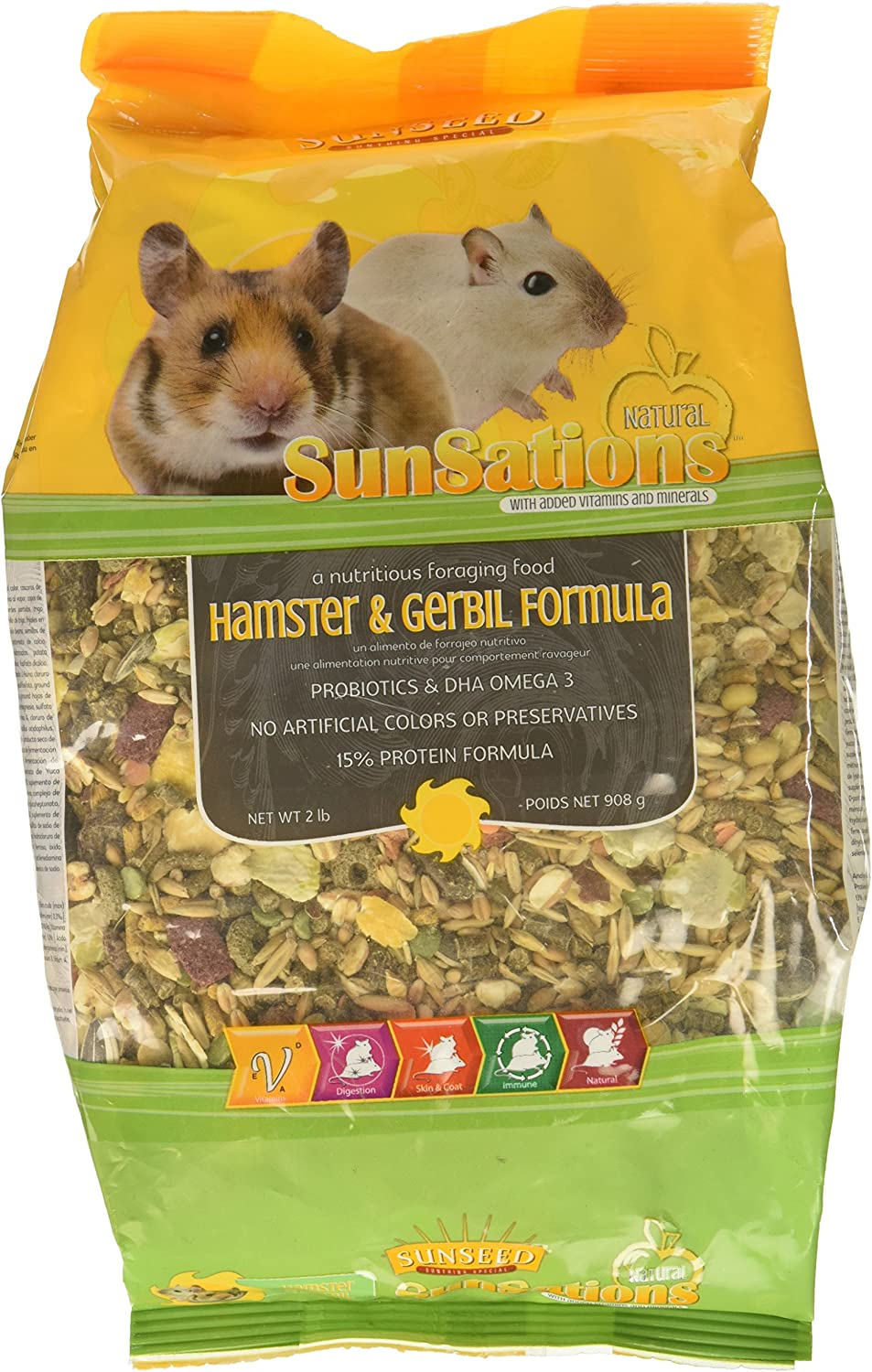 (3 Pack) Sunseed Sunsations Natural Hamster and Gerbil Formula