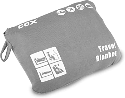 Cozy-Soft Travel Blanket Compact Lightweight Portable with Bag (Gray)