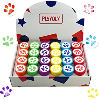Playoly Paw Print Stamps - Non-Toxic - 24 Stamps Included - Assorted Colors