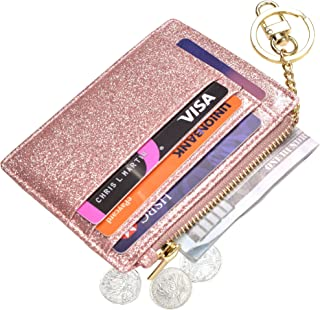 Womens Slim RFID Credit Card Holder Mini Front Pocket Wallet Coin Purse Keychain