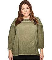 TWO by Vince Camuto - Plus Size Wide Long Sleeve Cotton Slub Pigment Dye Tee