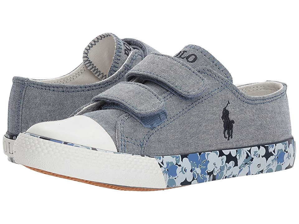 Polo Ralph Lauren Kids Slone EZ (Little Kid) (Blue Chambray/Navy Pony Player/Printed Floral Foxing) Girl