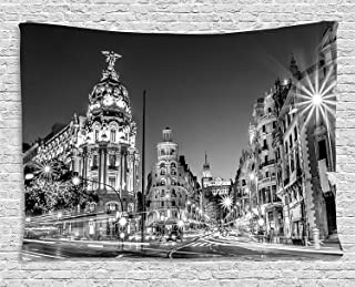 Ambesonne Black and White Decorations Tapestry, Madrid City Night Spain Main Street Ancient Architecture, Wall Hanging for...