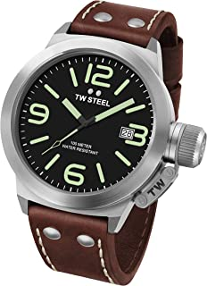 Tw Steel Men'S Black Dial Leather Band Watch - Cs21