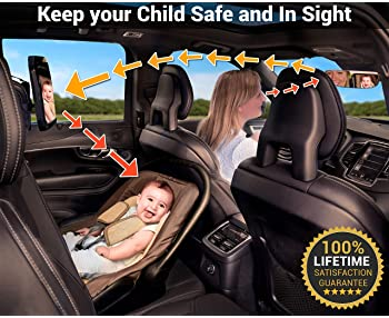 Shatterproof Baby Car Mirror Backseat View Infant in Rear Facing Car Seat Safety Crash Tested & Crystal Clear Easy to...