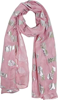 StylesILove Women Spring Summer Metallic Foil Print Lightweight Cotton Scarf Wrap Beach Shawl