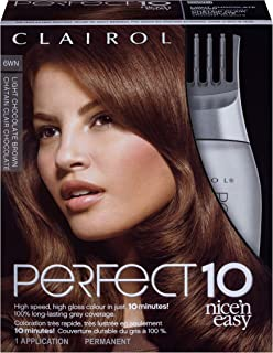 Clairol Nice'n Easy Perfect 10 Permanent Hair Color, 6WN Light Chocolate Brown, Pack of 1