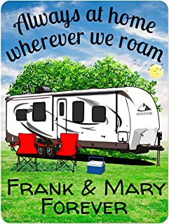 Happy Camper World Personalized Camping Sign - Travel Trailer- Always at Home Wherever We Roam - 9