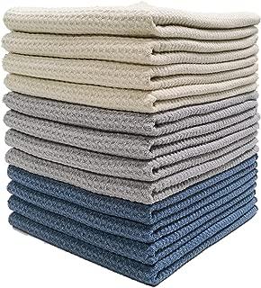 Polyte Premium Microfiber Kitchen Dish Hand Towel Waffle Weave (Dark Blue, Gray, Off White, 16x28) 12 Pack