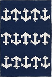 Liora Manne CAP23166433 Capri Coastal Anchor Navy Indoor/Outdoor Rug, 2' X 3', Blue and White