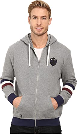 French Terry Crest Logo Hooded Jacket