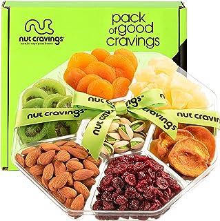 Dried Fruit & Nut Gift Basket + Green Ribbon (7 Piece Assortment, 1 LB) - Fathers Day Prime Arrangement Platter, Birthday ...