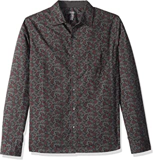 Van Heusen Men's Slim Fit Never Tuck Long Sleeve Button Down Print Shirt