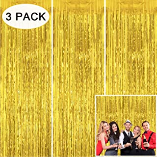 Tifeson Gold Foil Fringe Curtains Backdrop, 3 Pack 3.2 x 8.3 ft Tinsel Metallic Fringe Doorway Curtain for New Year Eve Party Decoration, Birtday Baby Shower Bachelorette Party Wall Backdrop