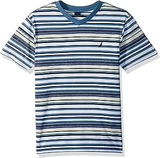 Boys' Short Sleeve Striped V-Neck T-Shirt