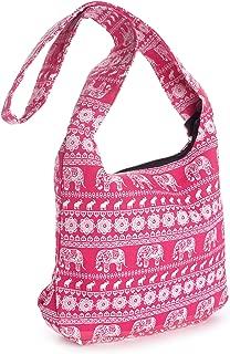 Pink and White Tribal Elephant Print Cross Body Slouch Messenger Shoulder Bag