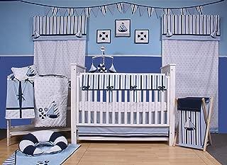 Bacati Boys 10-Piece Nursery-in-A-Bag Crib Bedding Set with Long Rail Guard, Little Sailor