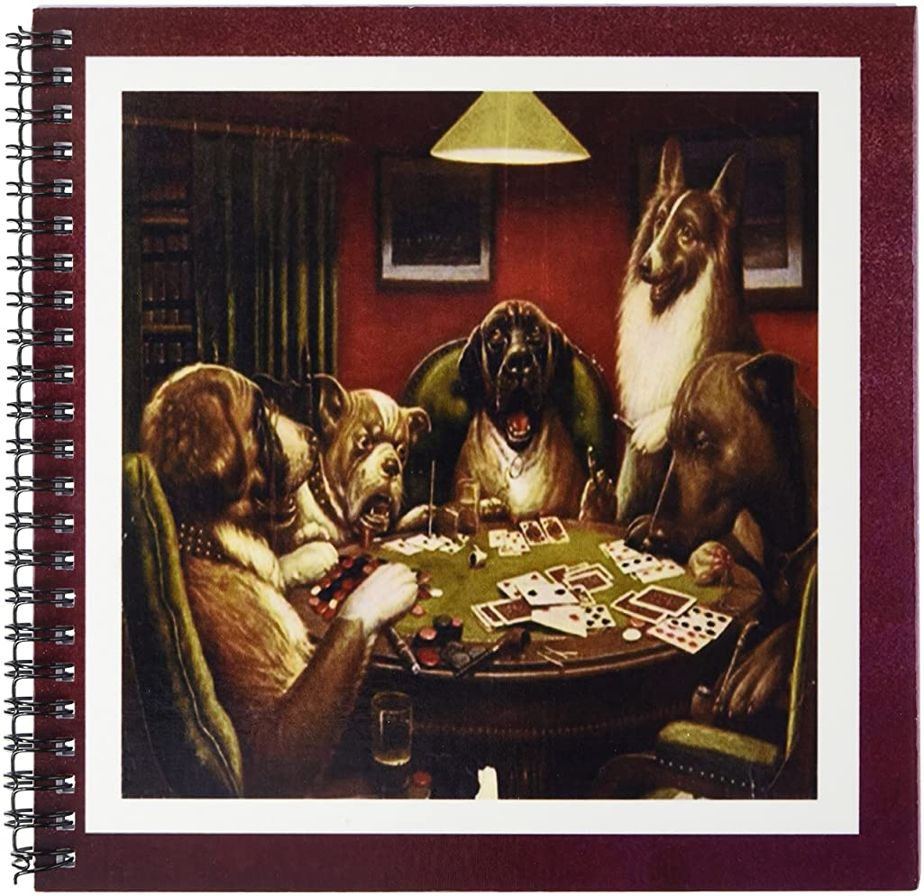3dRose Florene Famous Art - Framed Photo Of Famous Vintage Gambling Dogs.jpg - Drawing Book 8 x 8 inch (db_98580_1)