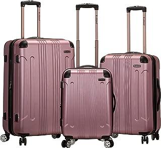Luggage 3 Piece Abs Upright Luggage Set, Pink, Medium