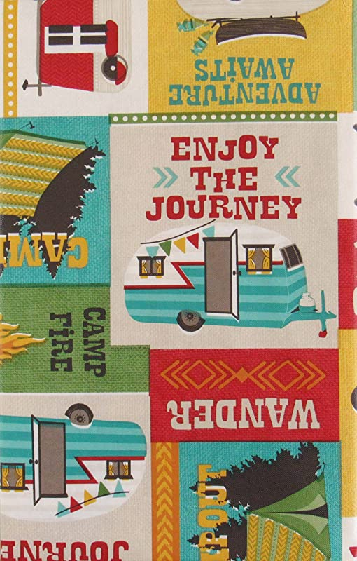 Mainstream Lodge Enjoy The Journey Campout Patchwork Vinyl Flannel Back Tablecloth 52 X 52 Square