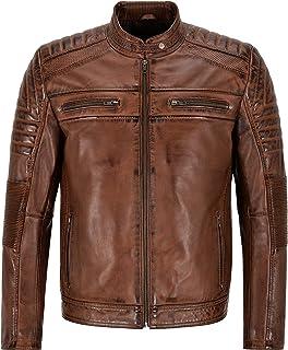 Men's Biker Leather Jacket Chestnut Speed Genuine Leather Cafe Racer Jacket 5928