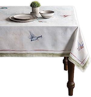 Maison d' Hermine Nappe 100 % coton avec oiseaux volants pour cuisine, salle à manger, décoration de table, fête, mariage,...