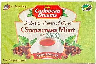 Caribbean Dreams Cinnamon Mint Tea, 20 Tea Bags, Diabetics Tea, Natural Herbal Tea, Caffeine Free, Sugar Free