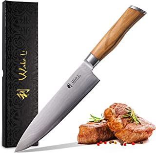 Wakoli - Cuchillo de damasco (hoja de 20,00 cm de longitud, mango de madera de olivo y hoja de damasco, cuchillo de chef, cuchillo de cocina de damasco)