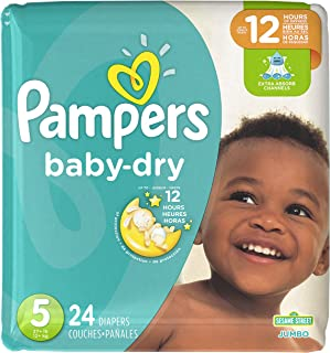 Diapers Size 5, 24 Count - Pampers Baby Dry Disposable Baby Diapers, Jumbo Pack