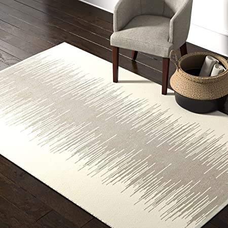 Amazon Brand Rivet Contemporary Polyester Area Rug 5 X 8 Foot Taupe And Grey Furniture Decor