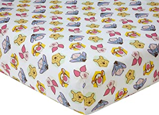 Disney Winnie the Peeking Pooh 100% Cotton Fitted Crib Sheet, Yellow/Blue/Green