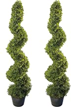 4` Outdoor Artificial Topiary Spiral Trees Set of 2 Highly Realistic, UV Protected